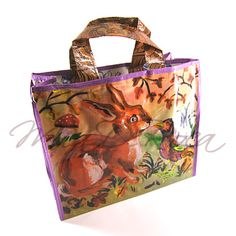 Carrier Bag with Rabbit Berta - MiaDeRoca Evening Bags, Ted, Rabbit, Tote Bag, Common Kingfisher, Hare, Shopping, Handbags, Products