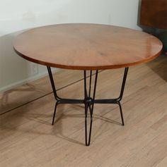 Mathieu Matégot; Oak and Enameled Metal Center Table, 1950s.