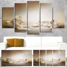 Designart 'White Lion Family' Animal Art on Canvas