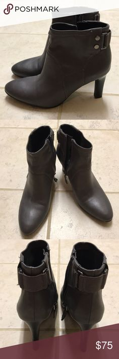 Franco Sarto Grey Booties Brand new, never used. I don't wear heels to work anymore, so I don't need these! Super cute with tights, skirt, and sweater this winter. Great for work, date night, etc. Franco Sarto Shoes Ankle Boots & Booties
