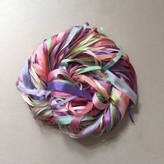 Silk Ribbon Remnants - Pink, Green, Purple and Peach Clear Plastic Bags, Paper Tags, Etsy Shipping, Silk Ribbon, Green And Purple, Fiber Art, Peach, Textiles, Colours