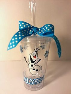 Personalized Olaf Frozen Vinyl Tumbler Cup By KimRamirezcreations - Vinyl for cups