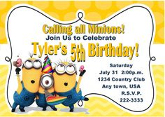 Despicable Me Inspired Invitation by PinkInkPartyBoutique on Etsy, $10.00