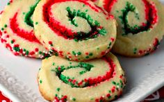 Delight your family and friends this season with these fun Christmas cookies I call Santa's Swirl Sugar Cookies! Easy slice and bake cookie recipe is transformed into festive treats with colored sugar and red and green nonpareils. Homemade Christmas Cookie Recipes, Christmas Cookies Kids, Easy Holiday Cookies, Italian Christmas Cookies, Xmas Cookies, Homemade Cookies, Easy Cookie Recipes, Holiday Desserts, Holiday Baking