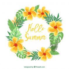 手描きの夏の花の冠 無料ベクター