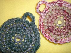 Green and Maroon Plarn Dish Scrubbies two by plarnstar on Etsy, $6.00
