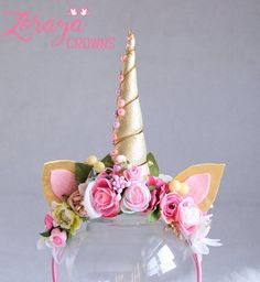 Unicorn flower crown pastel crown vintage baby girl crown girls props headband first birthday b Unicorn Headpiece, Diy Unicorn Headband, Unicorn Ears, Unicorn Halloween, Unicorn Costume, Unicorn Birthday Parties, Birthday Party Decorations, Flower Colouring In, Unicorn Baby Shower