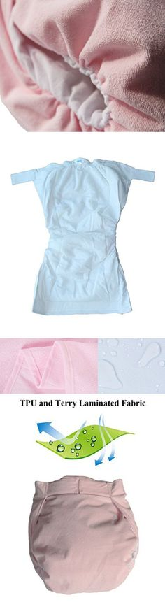 """Haian Reusable Adult Incontinence AIO velcro Diapers (L-XXL Bast fit waist 38""""-48"""", Baby Pink)"""