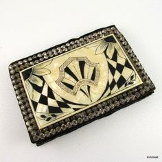 Vintage 1920s 30s ART DECO EVENING CLUTCH Pearlized Celluloid  Rhinestone Panel