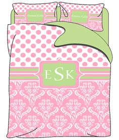 Personalized Custom Dots & Damask Bedding Duvet Cover by redbeauty, $149.00