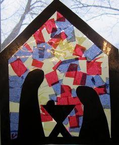 EASY Nativity Stained Glass | You Pinspire Me **for advent, cut out shape of Mary pregnant with empty manger