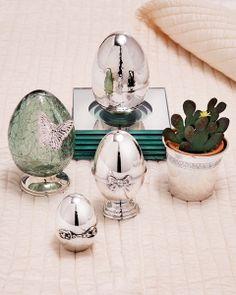 silver handmade easter eggs !