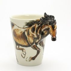 Horse Ceramics Coffee Mug - awesome! Handmade Beads, Handmade Art, Handcrafted Jewelry, Handmade Christmas Tree, Ceramic Animals, Beautiful Handmade Cards, Gifts For Pet Lovers, Ceramic Cups, Coffee Cups