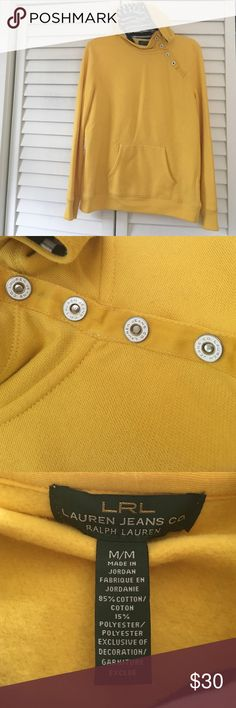 Ralph Lauren yellow hoodie size M Stand out in this yellow hoodie by Ralph Lauren. Really cute snap details on the front that can open as pictured. Front pocket for warmth and nautical striped lining in the hood. Please ask all questions before buying! No trades and cheaper through ♏️. All reasonable offers welcome through the offer button only! Bundle to save💕 Lauren Ralph Lauren Jackets & Coats