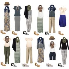 Middle East Travel Capsule Wardrobe- Outfit Ideas  #over50traveler:  This is a great capsule wardrobe for South East Asia too.  Many countries are more conservative. Maxies are great for hot climate provide that the fabrics are light.
