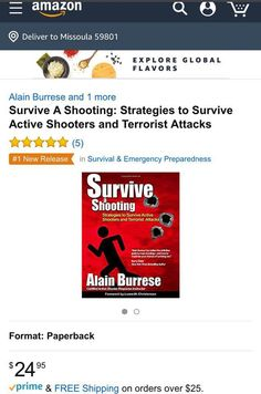 Survive A Shooting Best Seller! Alain Burrese's book reached number 1 in its category and number 3 over all quickly after its release.