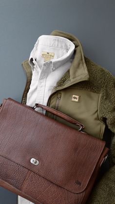 Rugged Fashion, button down, jacket & leather bag by Buffalo Jackson #mensfashion #menstyle #bag