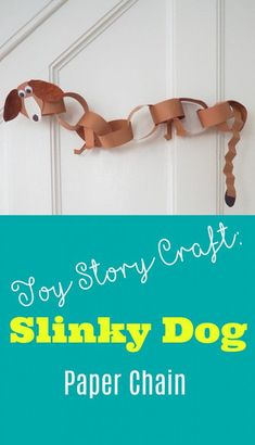Here is a fun Disney preschool craft! This Slinky Dog Paper Chain is fun to make and you can also use it as a Disney Vacation countdown chain! Especially with the opening of the new Toy Story land and the Slinky Dog Dash roller coaster! Fête Toy Story, Toy Story Crafts, Toy Story Theme, Dog Crafts, Toy Story Party, Toy Story Birthday, Toddler Crafts, Preschool Crafts, Kids Crafts
