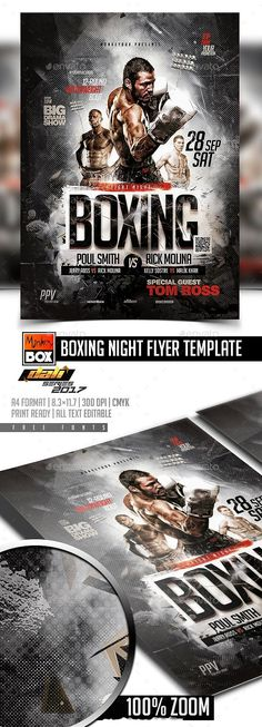 Boxing Flyer Template By Monkeybox Boxing Flyer Template A4 Format