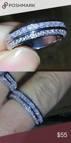 New 18 k white gold wedding ring Brand new 18 k white gold filled with lab created diamonds engagement wedding ring.wedding band, wedding ring . Also have wedding ring sets, engagement rings , wedding bands in my listing for sale. Available in all sizes. Swarovski Jewelry Rings