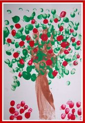 "Apple Tree Craft for toddlers. I will use sticks we collect outside and have them glue them for the tree trunk, and let them glue a piece of green construction paper that I've cut into the shape of the tree top, and then they can ""paint"" apples with a red bingo dabber."