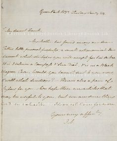 A letter from Jane Austen to her brother Frank. British Library