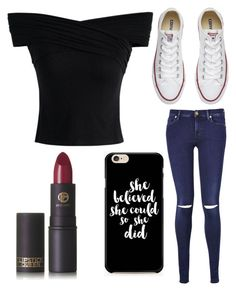 """""""Untitled #7743"""" by ohnadine on Polyvore featuring 7 For All Mankind, Converse, Chicwish and Lipstick Queen"""