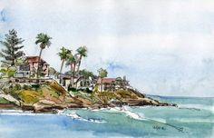 Original watercolor with pen and ink of Windansea, La Jolla, California #Impressionism