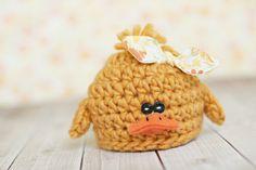 newborn duck hat .. newborn photo prop .. summer hat by bitOwhimsy