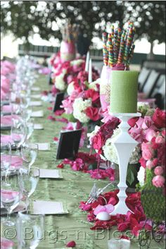 I like the idea of a long table for the bridal shower, vs separate tables. I think it saves space and looks more elegant. RO.