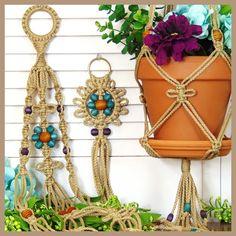 Hanging Plant Holder, Indoor Plant Hanger, Macrame Flower Pot Hanging Planter, Turquoise and Purple, Jute Rope, Hippie Patio Décor