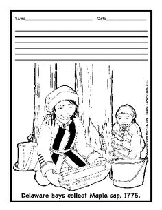 A young lenni lenape indian child describes her familys life native american delaware lenape indian maple sugaring coloring page publicscrutiny Image collections