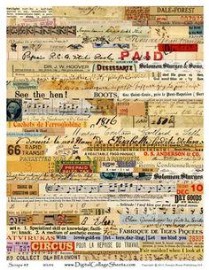 vintage ephemera scrap digital sheet