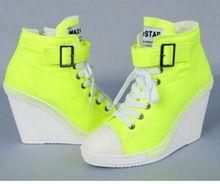 2015 Max ster vrouwen canvas schoenen casual wiggen enkele schoenen meisjes mode sneakers Hoge hakken 5 kleuren (China (vasteland))
