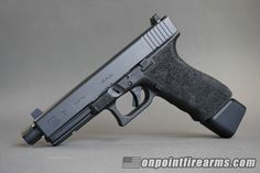 Our Custom Series Glock 21SF in .45acp features a threaded barrel, raised suppressor sights, two (2) 13 round magazines, Taran Tactical magazine base pad, and a full 360 degree grip stippling package for only $799.