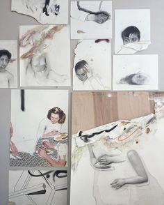 La obra del artista Daniel Segrove puede estar inacabada, manchada, hasta suele estar rota y aunque parezca contradictorio, irradia delicadeza e intensidad en parte gracias a la mirada perdida de sus musas.