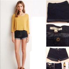 GIFTED | @javenegas | F21 Denim Short F21 Dark Denim Cuffed Short 80% cotton 19% Polyester 1% spandex. NWOT Forever 21 Shorts