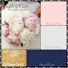 Romantic wedding: blush pink, soft gray, navy blue and glitter gold.