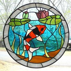 Orange Black and White Koi Fish Stained Glass Suncatcher with Lily Pads Stained Glass Paint, Stained Glass Flowers, Stained Glass Designs, Stained Glass Panels, Stained Glass Projects, Stained Glass Patterns, Mosaic Glass, Glass Art, Carpe Koi