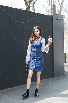 Buy Corset Denim Dress at Korean Fashion Store. Dedicated to bringing customers the latest Korean fashion styles on the market. Updated on a daily basis and imported directly from Korea. Korean Fashion Minimal, Cute Asian Fashion, Korean Fashion Winter, Korean Fashion Casual, Ulzzang Fashion, Korean Street Fashion, Korea Fashion, Kpop Fashion, Denim Fashion