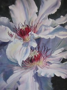 Clematis and Company by Poppy Balser Watercolor ~ 29 x 21 #watercolorarts