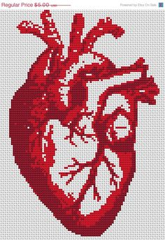Cross Stitch PDF Pattern - Heart Beat