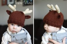 Make your sweet little baby boy or girl look cute this holiday season with free knitting patterns for babies. The Knit Reindeer Baby Beanie is the perfect start for those learning beginner knitting techniques. Knitted Baby Beanies, Baby Hats Knitting, Knitting For Kids, Baby Knitting Patterns, Loom Knitting, Knit Beanie, Knitted Hats, Free Knitting, Beginner Knitting