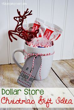 Dollar Store Christmas Gift Idea - The Benson Street Thrifty Dollar Store C Homemade Christmas Gifts, Christmas Mugs, Simple Christmas, Homemade Gifts, Christmas Time, Small Christmas Gifts, Christmas Ideas, Christmas Neighbor, Inexpensive Christmas Gifts