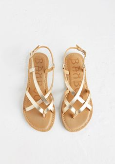 Slingback to the Beach Sandal in Gold | Mod Retro Vintage Sandals | ModCloth.com