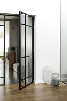 Porte en métal avec éléments asymétriques en verre