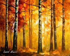 Hidden Trees - Palette Knife Oil Painting On Canvas By Leonid Afremov Painting by Leonid Afremov