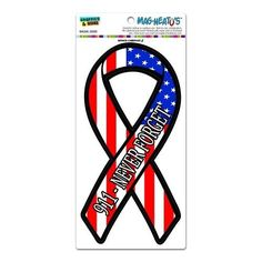 September 11th 911 Never Forget USA Flag Support Ribbon - Patriotic American United States MAG-Neato's(TM) Automotive Car Refrigerator Locker Vinyl Magnet