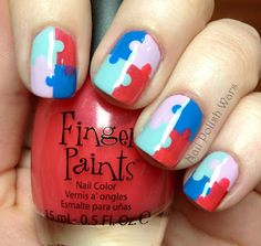 Nail polish wars blog--think of it as 4 squares, with an added dot for each, easy peasy!