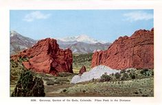 Scenic view from 1930 of Pikes Peak and the Garden of the Gods, Colorado Springs.